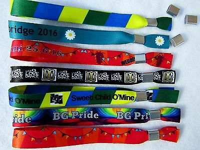 150 Personalised Fabric Wristbands, Printed with Your Image or Text,Metal Clip