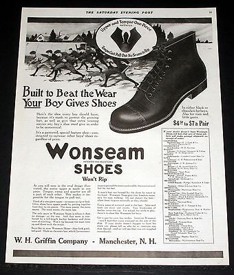 1919 Old Magazine Print Ad, Wonseam, Built To Beat The Wear Boys Gives Shoes!