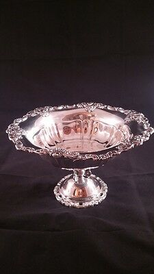 VINTAGE BAROQUE by WALLACE ORNATE TAZZA CENTERPIECE PEDESTAL SILVER PLATE BOWL