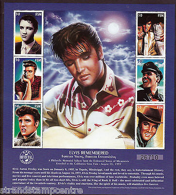 Elvis Presley Forever Young Unmounted Mint Stamp Sheet from Micronesia
