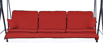 Replacement Red 3 Seater Swing Seat Hammock Cushions Set Pads Garden Chair