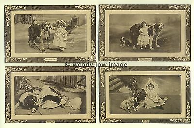su1386 - Dogs & Young Girls - 4 postcards