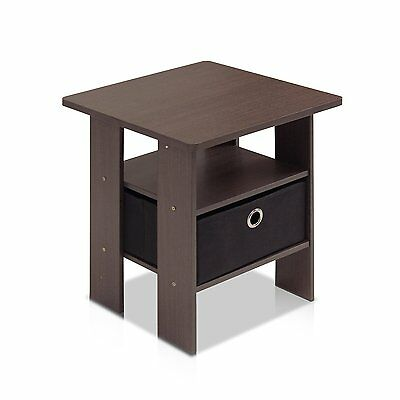 Furinno 11157DBR/BK End Table Bedroom Night Stand w/Bin Drawer, by Furinno NEW