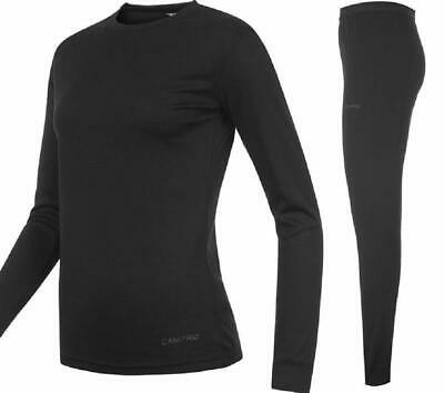 Campri Thermal Black Sports Base Layer Junior Top & Pant Set Ski Wear Unisex