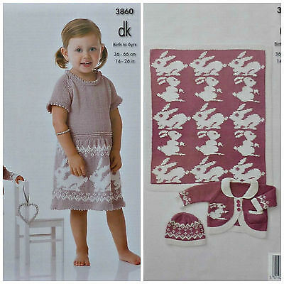 KNITTING PATTERN Baby/Girls Rabbit Blanket Hat Dress & Jacket DK King Cole 3860