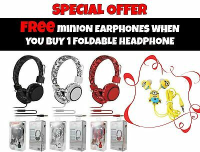 Foldable Headphone Music Children Headset with Microphone FREE Minions Earphones