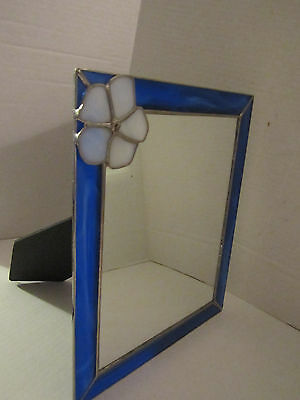 """Mirror with Stained Glass Edge & Flower. Handmade. Blue Glass. 9.5""""x11.5""""."""