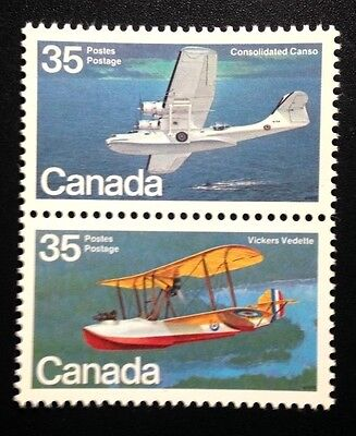Canada #845-846a MNH, Aircraft Flying Boats Pair of Vertical Stamps 1979