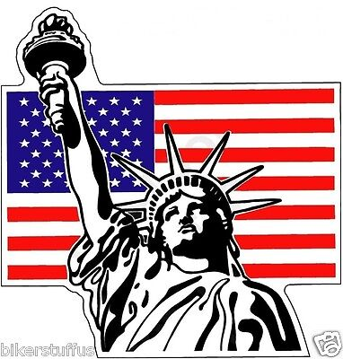 Statue Of Liberty With Usa Flag Bumper Sticker Toolbox Sticker Laptop Sticker