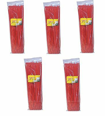 "500 pack 14"" Red 50 Lbs Nylon Cable Wire Management Zip Ties"