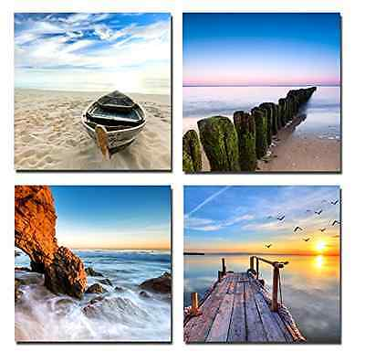 4 panels picture framed canvas print beach sunset sea seascape wall art decor
