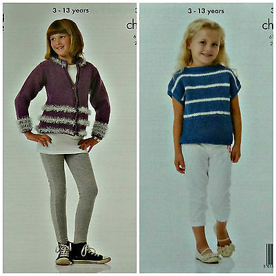 KNITTING PATTERN Girls V-Neck Tinsel Stripe Cardigan & Striped Top Chunky 3853