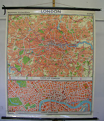german school canvas wall map roll up vintage London city 109x133 SHOP 2500 maps