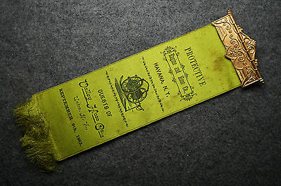 "Antique 1892 Engine & Hose Co. Havana New York Guests of Union NY Ribbon 8"" Long"