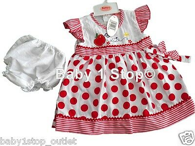 Girls Spotty Baby Dress & Pants & Headband 6-12 12-18 18-24 Months Red or Pink