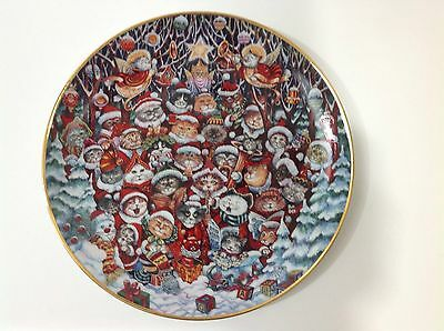 Santa Claws Bill Bell Limited Edition Plate Cats HolidayPorcelain Franklin Mint
