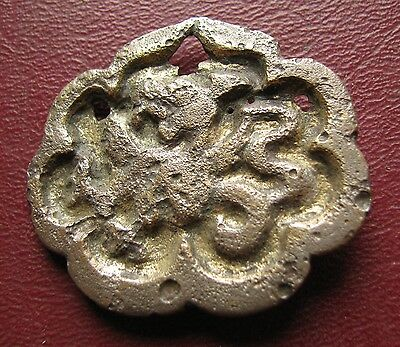 Ancient Lake Ladoga VIKING Artifact > Bronze Serpent Belt Fitting Buckle J5