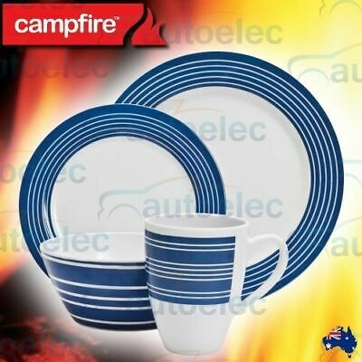 Campfire 16 Piece Melamine Dinner Set Camping Ware Plate Bowl Mug New 4 Person