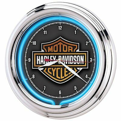 Harley-Davidson Essential Bar & Shield Neon Clock(HDL-16675)Features chrome hous