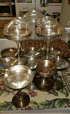 13 Stemmed Valero Silver Plated Champagne Wine Goblets Covers