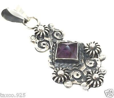 Vintage Style Taxco Mexican 925 Sterling Silver Amethyst Scroll Pendant Mexico