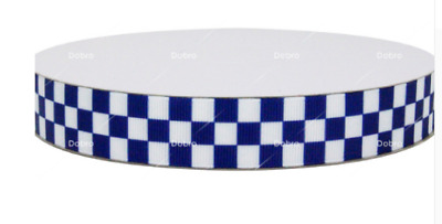 Navy/Blue and White Checkered Ribbon Police 1m long