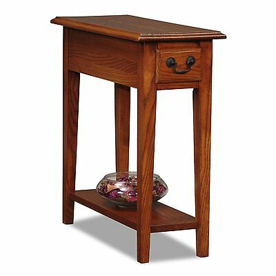 Leick Chair Side End Table, Medium Oak Finish 9017-MED Solid wood drawer NEW