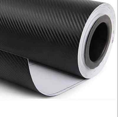 "12""x50"" 3D Black Carbon Fiber Vinyl Car Wrap Sheet Roll Film Sticker Decal Sales"
