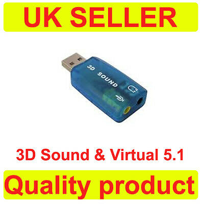 External USB 2.0 to 3D Virtual Audio Sound Card Adapter Converter 5.1 Channels E