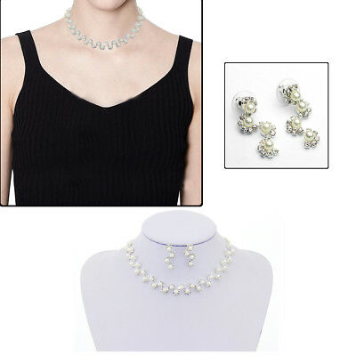 Rhinestone Diamante Necklace Earrings Bridal Wedding Party Jewelry Set Crystal 9