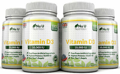 Vitamin D3 10000iu 4 x 365 Soft Gels  High Strength 100% Back Guarantee by Nu U
