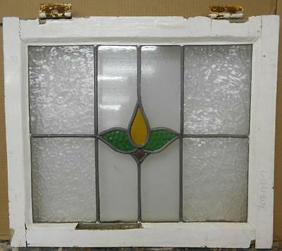 "OLD ENGLISH LEADED STAINED GLASS WINDOW Cute Floral 21.75"" x 18.75"""