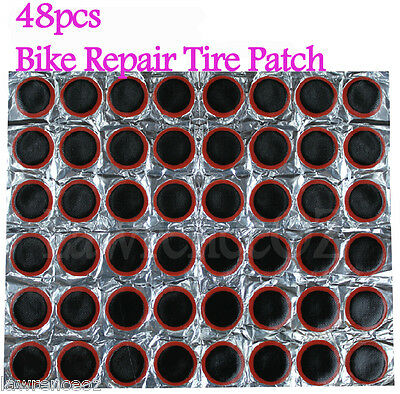 48pcs Bike Repair Tyre Tire Patch Rubber Tool Glue Bicycle Cycling Rubber Patch