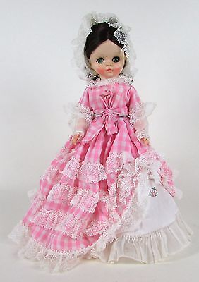 "Vintage 1966 Prairie Style Victorian EFFANBEE Pink Plaid Dress Bonnet 14"" Doll"