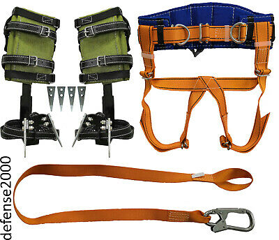 Tree Climbing Spike Set, Safety Belt With Straps, Safety Lanyard With Carabiner