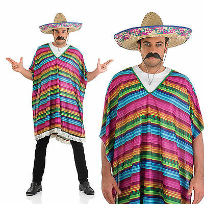 Adult Striped Poncho Fancy Dress Costume Mexican Amigo Fiesta Outfit