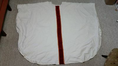 Clergy vestments: handmade 5pc. mass set with chasuble, etc. in white silk