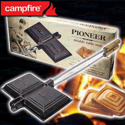Double Jaffle Iron Cast Iron Fire Sandwich Camping Cooker Cooking Campfire P54D-