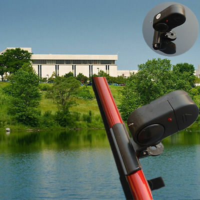 New Black Electronic LED Light Fish Bite Sound Alarm Bell Clip In Fishing Rod