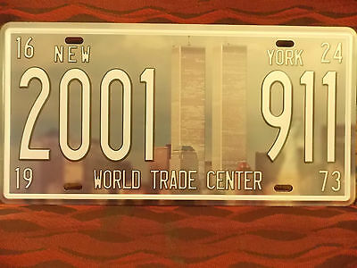 2001 911 World Trade Center  Number Plate 30 Cm By 15 Cm