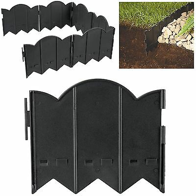12pc Hammer in Lawn Edging Rounded Border Garden Patio Barrier Fence Flower Path