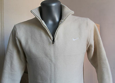 Womens NIKE GOLF Cardigan Sweater 100% WOOL Beige Size S