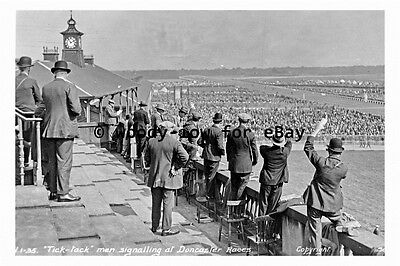 pt9219 - Doncaster Racecourse , The Tick Tack Men signalling - photograph