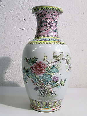 ANTICO VASO PORCELLANA ORIENTALE DIPINTO UCCELLINI CHINESE PORCELAIN VASE H 36cm