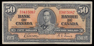 1937 Bank of Canada $50 CH-26b Gordon-Towers Signatures SN B/H3415087