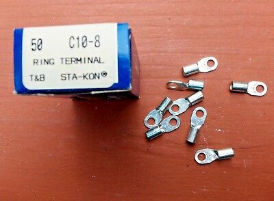 Box/50 Thomas & Betts C10-8 Sta-Kon Ring Terminal Connector 12-10 AWG #8 Bolt