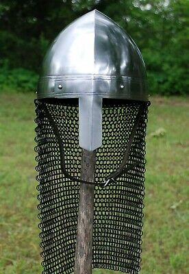 Norman Medieval Viking Spangenhelm Nasal Helmet with Chainmail Aventail