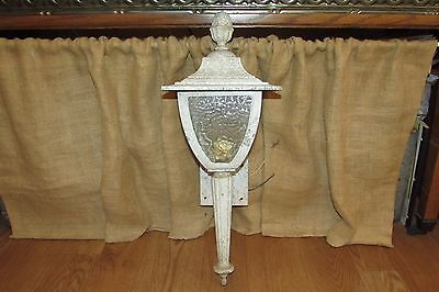 Vintage Metal Porch Light/Sconce Pressed Glass Pine Cone Top #2241