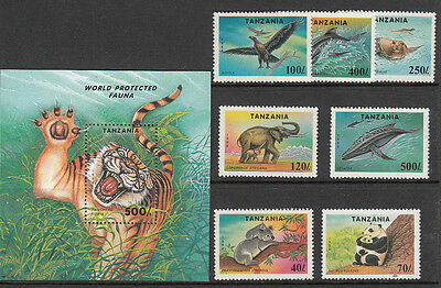 Stamps 1994 Tanzania Protected Fauna set of 7 plus mini sheet MUH, nice thematic