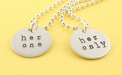 Her One Her Only Necklaces Pair - LGBTQ - Gay Pride Love - Silver - Custom